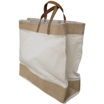 CANVAS & JUTE BAG WITH LEATHER HANDLE