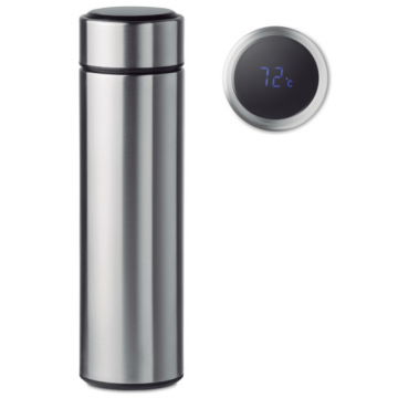 Double Wall Thermometer Bottle 500ml- Silver