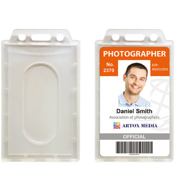 ID Card Pouch Frosty PVC- Vertical