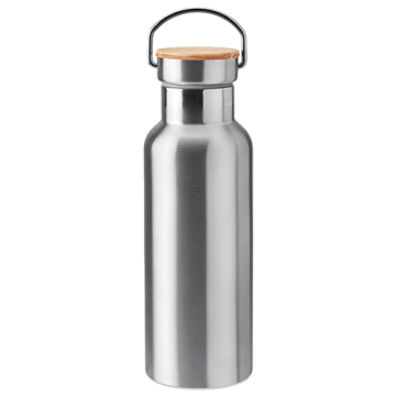 Stainless Steel Bamboo Flask- Silver