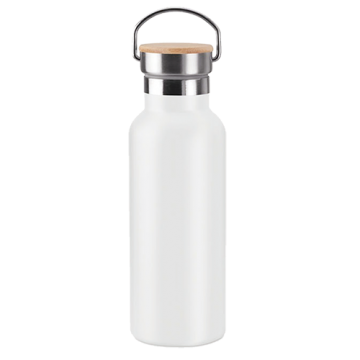 Stainless Steel Bamboo Flask- White