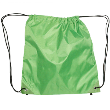 Draw String Bag with Leather corner- Green