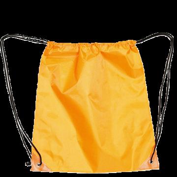 Draw String Bag with Leather corner- Orange