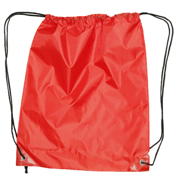 Draw String Bag with Leather corner- Red