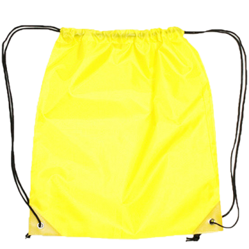 Draw String Bag with Leather corner- Yellow