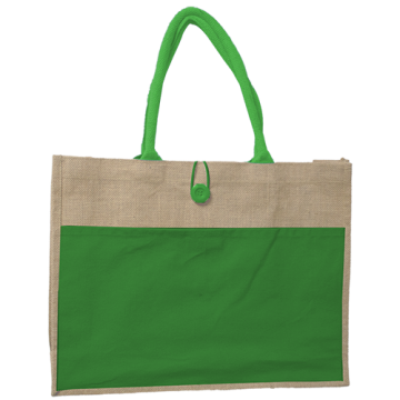 JUTE BAG WITH GREEN CANVAS POCKET