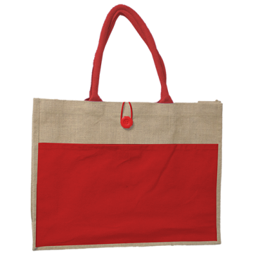 JUTE BAG WITH RED CANVAS POCKET