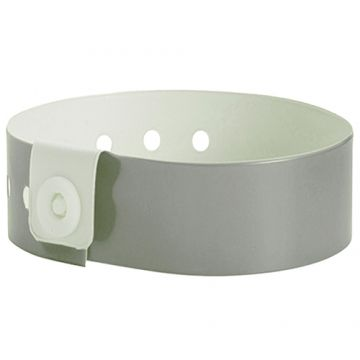 Wide Face PVC Wristbands- Silver