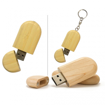 Wooden USB with Ring  Natural